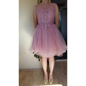 Vestido De Fiesta 15 Años Micro Tul Y Guipiur