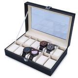 Estojo Porta 12 Relógios Caixa Organizador Pespontado Luxo