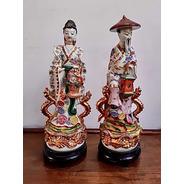Antiguas Figuras Japonesas De Porcelana De 37 Cm