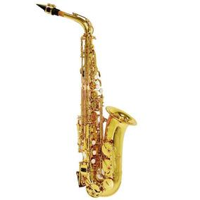 Saxofone Alto Laqueado Shelter Sgft6430l Dourado Eb C/ Case