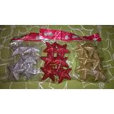 6 Estrellas Color Con Glitter X 6cm - Dorado - Rojo - Plata