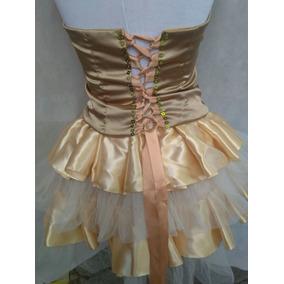 Vestido De Quince Color Dorado 4 Piezas Corsetcorto Y Largo
