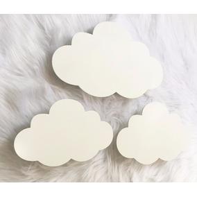 Kit 3 Nuvens Branca Led 3 Tamanhos Luminária Quarto De Bebe