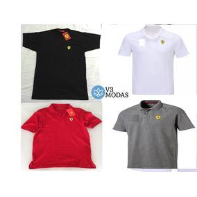 Promoção Kit 5 Camisas Camisetas Gola Polo Masculina Ferrari