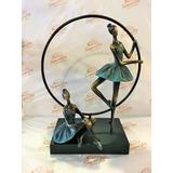Escultura 2 Bailarinas No Aro 38x29cm Resina Escura 12x