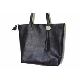 Cartera De Cuero Tote Bag Bolso Mujer Xl Negro Envío Gratis!