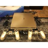 Playstation 4 Dorado 1000gb Como Nuevo, 2 Controles + Juego