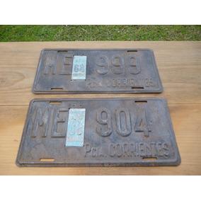 Patente Chapa Antigua Con Sello Prescinto Corrientes Año1968