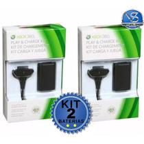 Kit 2 Bateria Recarregavel Xbox 360 30000mah + Carregador