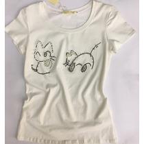 T-shirts Camiseta Feminino Bordadas Com Pedrarias