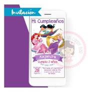 Invitación Digital Princesas Ariel, Jasmin Y Rapunzel