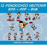 Pack 12 Vectores De Pinocho - Clipart - Eps - Pdf - Svg