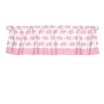 Pink Elephant Print Window Valance By The Peanut Shell - 10