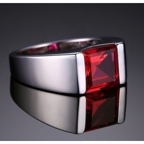 Anel Pedra Vermelha Rubi Homem Masculino Elegante Prata 925