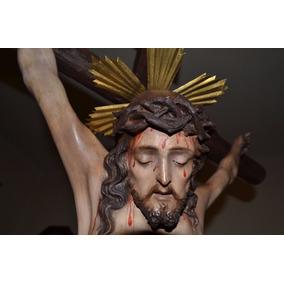 Cristo De Pasta Siglo Xix Pintado A Mano Hermoso Antiguo