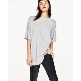 Camisa Blusa Oversized Marca Zara Color Gris100% Algodón