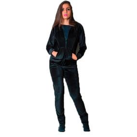 Conjunto Calça E Blusa Frio Veludo Plush Feminino Com Capuz