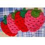 4 Posavasos Tejidos En Crochet Tipo Frutillas - Artesanal