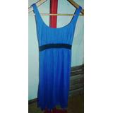 Vestido De Modal Azul Electrico Con Cinturon Negro