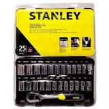 Jogo De Soquetes Em Cromo Vanádio Polido Stanley 25 Peças