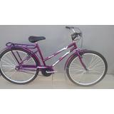 Bicicleta Modelo Poti Aro 26 X1/2 Com Cesta Violeta