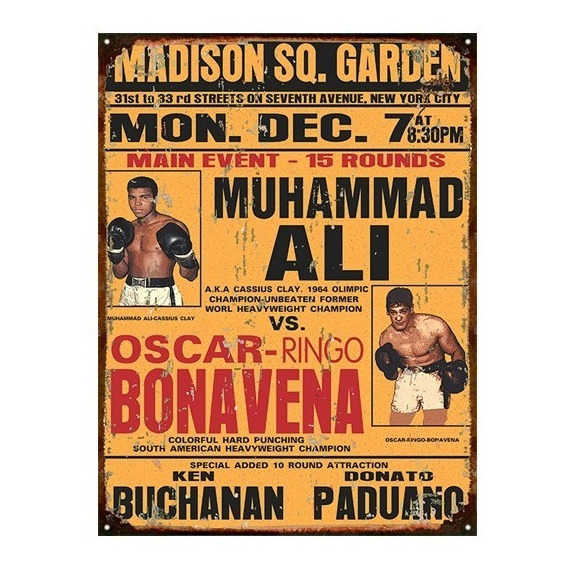 Cartel Chapa Publicidad Antigua Boxeo Ali Bonavena 1964 L111