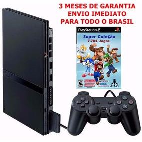 Playstation 2 Slim +1 Controle +3 Jogos +3 Meses De Garantia