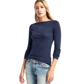 Blusa Mujer Cuello Barco Manga Larga Dama Camiseta Gap