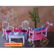 Sala De Estar + Carrinho Chá Pra Boneca Barbie *mesa Cadeira