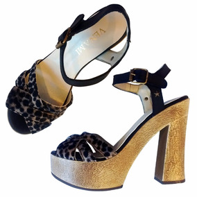 Zapatos Mujer Sandalias Noche Taco Plataforma Leopardo Pelo