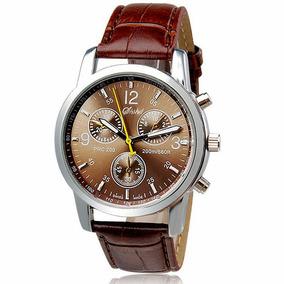Relógio Moda Couro Do Falso Homens Analógico Quartz Relógios