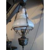 Araña Quinque Colgante Antigua Bronce Francesa. Iluminacion
