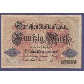 Alemania Reich 1914 Billete 50 Marcos Usado