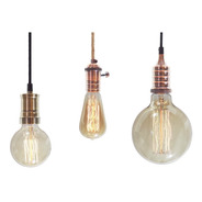 3 Portalamparas + Lamparas Filamento + Cable + Floron 3 Lamp
