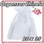 130 Saquinhos De Organza Chinelo C/ Fita De Cetim Branco