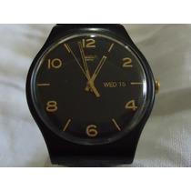 Reloj Swatch Negro Jumbo Doble Fechador