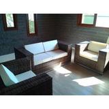 Jogo De Sofa Reto Quadrado Fibra Sintética Alumínio Terraço