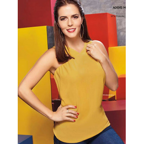 Blusa Sin Manga Color Mostaza Moda Club
