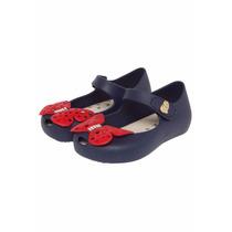 Sapatilha Azul Marinho Borboleta World Colors Peep Toe