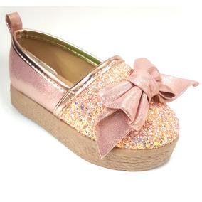Zapato Valerina Con Moño Y Brillos Para Niña