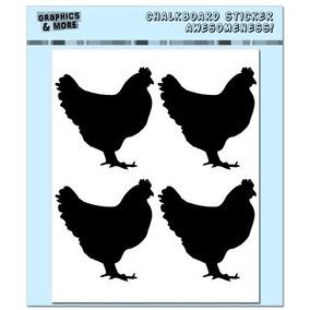 Pollos Gallos - 4 Hojas De Pizarra Pegatinas De Vinilo - Co