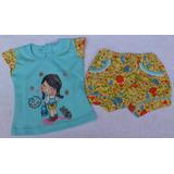 Conjunto Franela Y Short Camisa Amarillo Ropa Bebe Niña