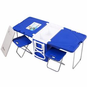 Mesa Y 2 Sillas De Picnic Camping Al Aire Libre Azul