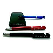 Bolígrafo Touch Y Apoya Celular 3 En 1 Rojo