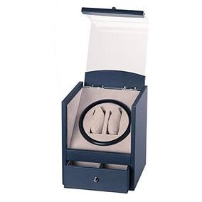 Azul Marino De Cuero 2 4 Rotación Automática De Doble Dual