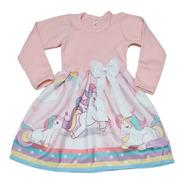 Vestido Infantil Unicornio Manga Longa Inverno Fab2