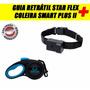 Guia Retrátil Star Flex Azul P+ Coleira Smart Plus Ll Preta