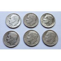 Lote 6 Monedas Plata Usa One Dime De 1947 A 1964 Roosevelt