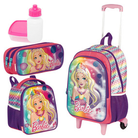 Mochila Infantil Rodinha Barbie 3d Lancheira Estojo Sestini