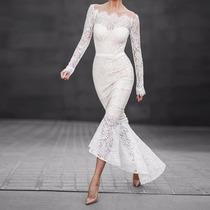 Vestido De Renda Estilo Sereia Festa Casamento Baile Noite
